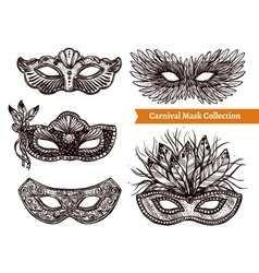 Carnival Mask Hand Drawn Set vector image