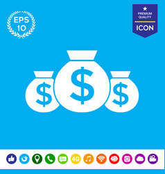 Bags of money icon with dollar symbol vector