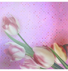 Beautiful tulips against polka dots EPS 10 vector image vector image