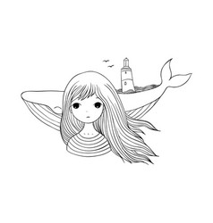 beautiful young girl sailor with a whale vector image vector image