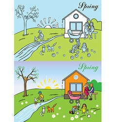 Big family spring nature vector