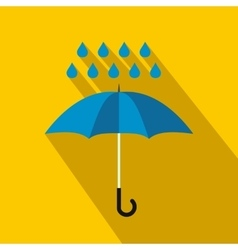 Blue umbrella and rain drops icon flat style vector