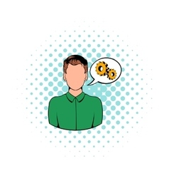 Businessman and gears in speech cloud icon vector image