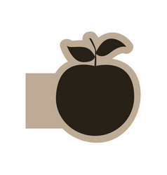dark contour apple fruit icon vector image