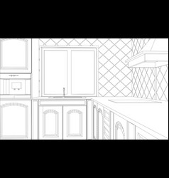 design kitchen in outline vector image vector image