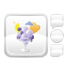 Dessert food icon with blueberry ice cream in vector image