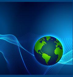Digital technology earth world map on blue vector