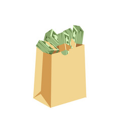 dollar paper business finance money stack in bag vector image vector image