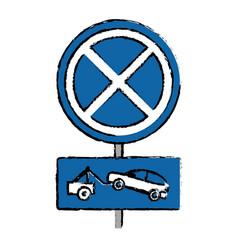 Drawing no parking road sign crane car vector
