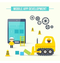Flat style concept of mobile app development vector image