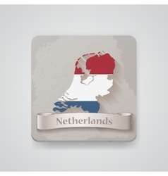 Icon of Netherlands map with flag vector image