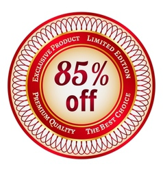 Label on 85 percent discount vector image