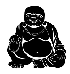 Laughing Buddha or Hotei sitting vector image