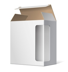 Light Realistic Open Package Cardboard Box with a vector image vector image
