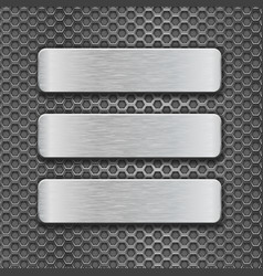 metal rectangle plates on perforated background vector image vector image