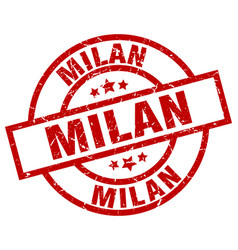 Milan red round grunge stamp vector