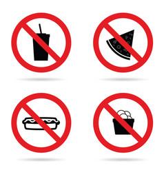 no fast food sign set vector image