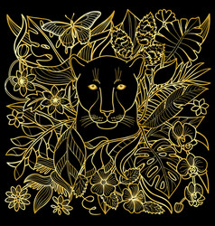 Panther golden pattern vector