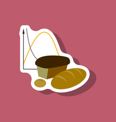 Paper sticker on stylish background bread chart vector