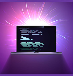 Portable laptop on glowing dark abstract vector