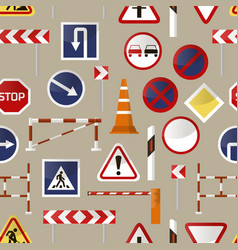Road barriers and signs pattern vector