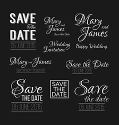 Save the date logos wedding invitation vintage vector
