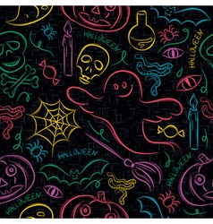 Seamless Pattern with Halloween cartoons vector image