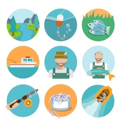 Set of fishing flat icons vector