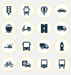 Shipment icons set collection of skooter way vector