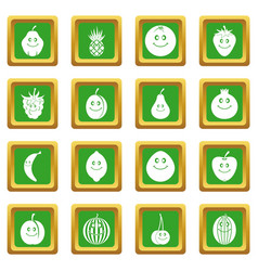 smiling fruit icons set green vector image