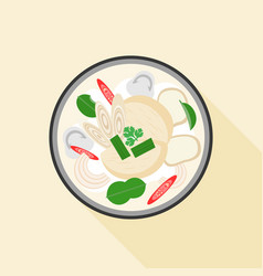Thai food tom kha kai vector
