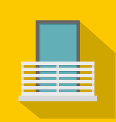 White balcony with window icon flat style vector