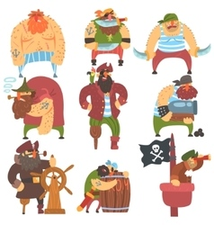 Scruffy Pirates Cartoon Characters Set vector image