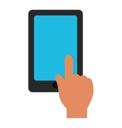 hand touch tablet blue screen graphic vector image