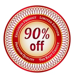 Label on 90 percent discount vector