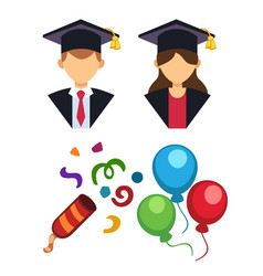 Graduation man and woman silhouette uniform avatar vector