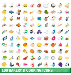100 bakery cooking icons set isometric 3d style vector image