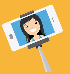 Young girl making a photo with stick selfie vector
