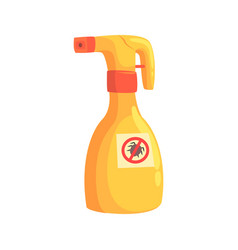 Sprayer bottle of mite or tick insecticide cartoon vector