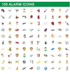 100 alarm icons set cartoon style vector