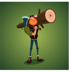 Strong lumberjack carries axe and big log vector
