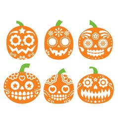 halloween pumpkin desgin - mexican sugar sk vector image