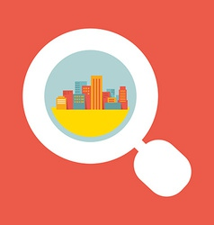A big city considered a magnifying glass vector