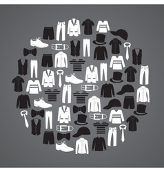 White and black mens clothing icons in circle vector