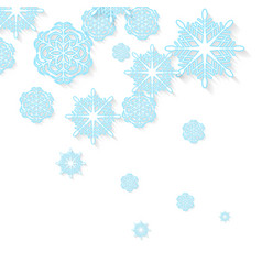 Blue snowflakes on white background vector