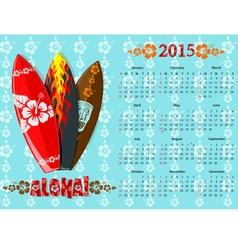 aloha kalendar blue 15 vector image