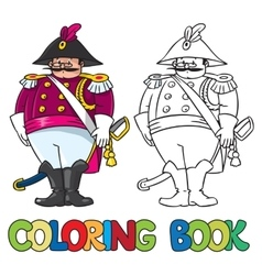 Fat general or officer coloring book vector