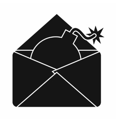 Envelope with bomb icon simple style vector
