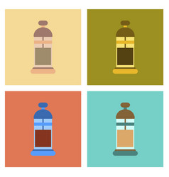 Assembly flat icons coffee machine maker vector