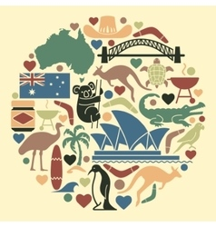 Australian icons in the form of a circle vector image vector image